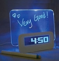 Alarm Clock message writing board with Backlight Blue Fluorescence - $27.33