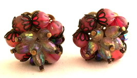 HOBE marked Pink AB Crystals Pink Art Glass Old Golden Filigree Cluster ... - $40.00