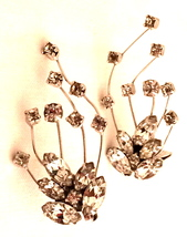 WEISNER vintage designer crystal diamonds clip earrings fabulous vintage jewelry - £30.54 GBP
