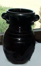 vintage black amethyst glass  vase with silver ... - $2.00