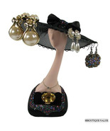 Black Hat Earring Ring Jewelry Display Stand Holder F - $29.99