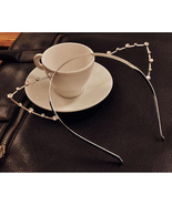 Fashion Sweet Cat Ear Design Rhinestone Headwear Hair Wrap Novelty Headband - $4.53