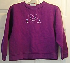 Girls Size Small Purple Sweat Shirt with Embroidered Heart and Flowers - $4.99