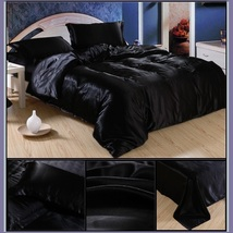 Luxury Black Mulberry Silk Satin Top Sheet Duvet w/ 2 Pillow Cases 4 Pc Bedding  image 1