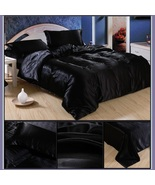 Luxury Black Mulberry Silk Satin Top Sheet Duvet w/ 2 Pillow Cases 4 Pc ... - $44.95+