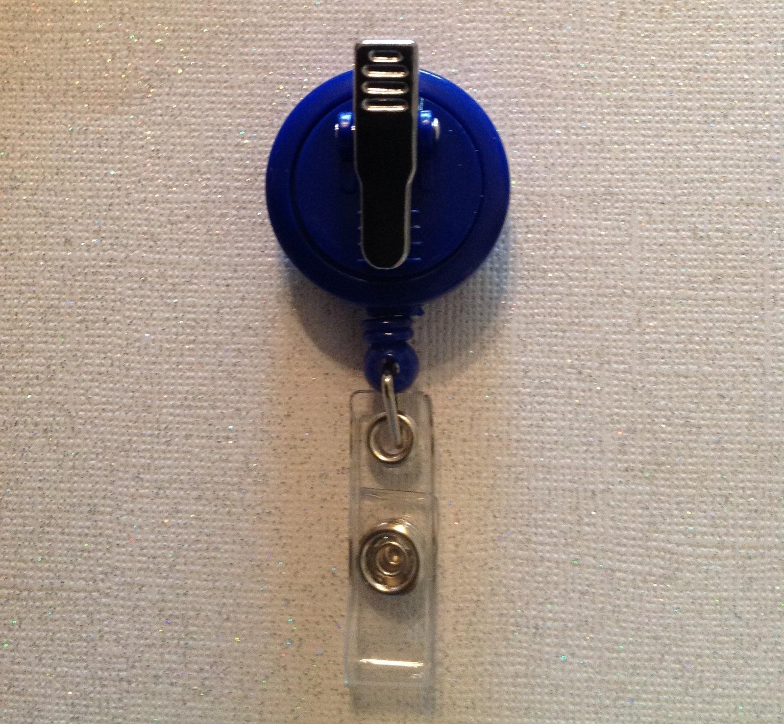 Nfl Denver Broncos Badge Reel Id Holder Swarovski blue orange alligator clip new