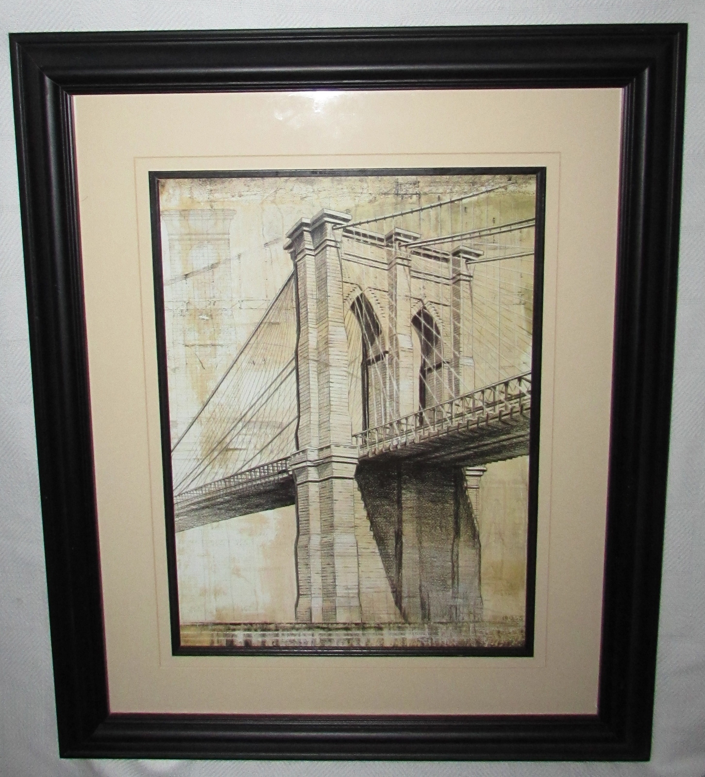 "P. Moss 'Brooklyn Bridge' Framed Art Print - Image dimensions: 19.5"" H x 16"" W"