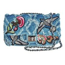 Cristina Sabatini Blue Chloe Crossbody Flying Bird and Flower Handbag - $173.25