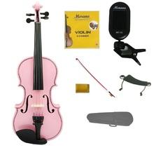 1/2 Pink Violin,Pink Bow,Case+Rosin+2 Sets Strings+Shoulder Rest+Clip On Tuner - $45.00