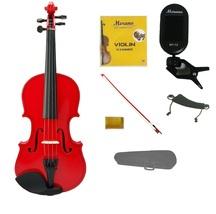 1/2 Red Violin,Red Bow,Case+Rosin+2 Sets Strings+Shoulder Rest+Clip On Tuner - $45.00