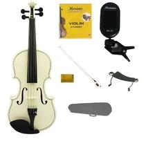 4/4 White Violin,White Bow,Case+Rosin+2 Sets Strings+Shoulder Rest+Clip On Tuner - $45.00