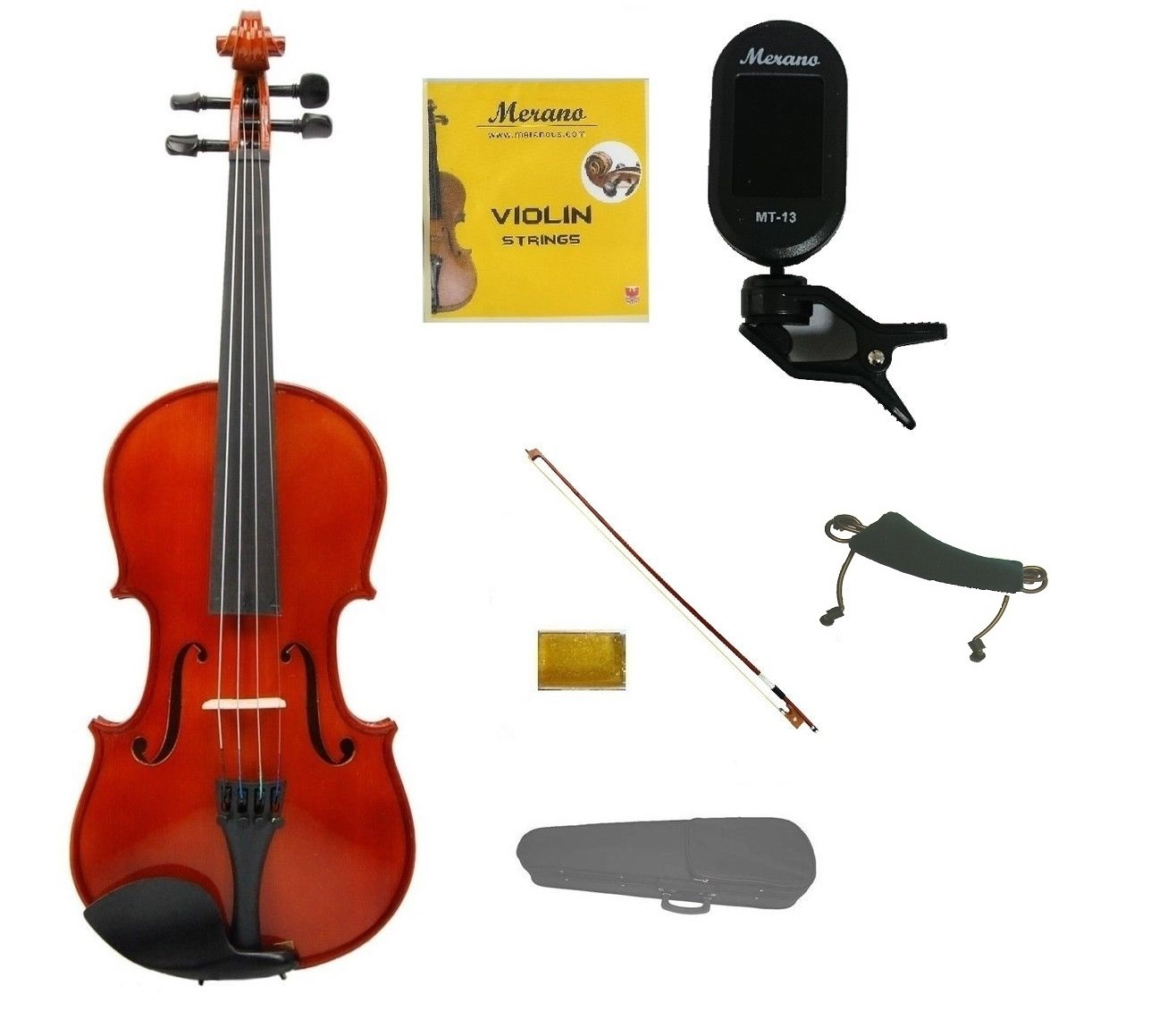 1/4 Acoustic Violin,Bow,Case+Rosin+2 Sets Strings+Shoulder Rest+Clip On Tuner
