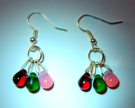 Colorful Christmas 3 stone (Silver Plated)  Dangle Earrings - $10.00