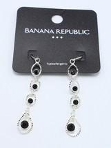 New Silver Tone Black Rhinestone Dangle Earrings by Banana Republic NWT ... - $6.44