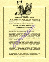 Rules In A Yorkshire Terrier's House - $20.70