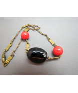 Victorian Era Pendant Necklace Red Orange Swirl... - $89.09