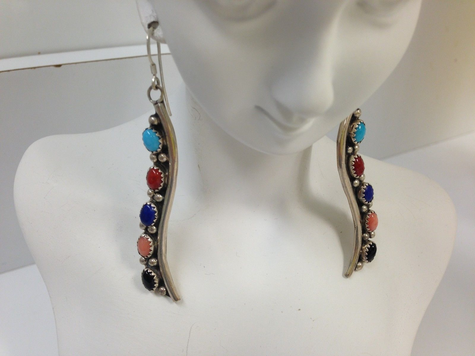 "Primary image for STERLING SILVER MULTI STONE SOUTHWESTERN DANGLE 2.5"" LONG EARRINGS SIGNED PP"