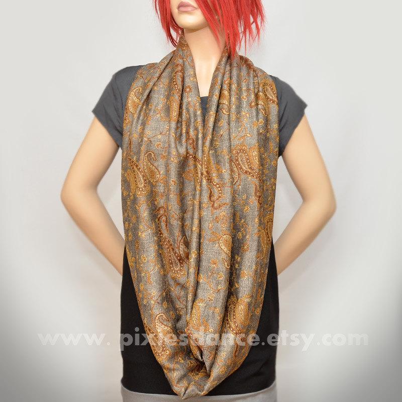 Pashmina Infinity scarf - Gray Silver Gold Paisley scarf