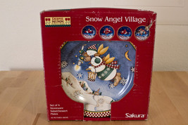 SAKURA DEBBIE MUMM SNOW ANGEL VILLAGE SET OF 4 STONEWARE SALAD DESSERT P... - $24.49