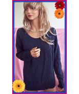 NEW  L 12 14 Merdona Dark Navy  Blue SWEATER  layering Tunic Pullover To... - $22.76