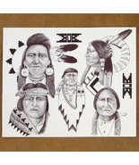 Navajo Native American Print Drawing Various Ch... - $49.97