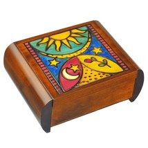 Heaven & Earth - Secret Puzzle Box, Polish Handmade Jewelry Box, Linden ... - €39,16 EUR
