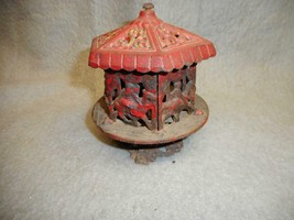 "VINTAGE CAST IRON CAROUSEL - HORSE, CAMEL, LION  BANK 5"" TALL   N/R - $39.99"