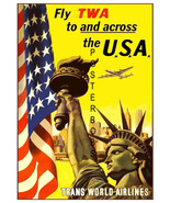 TWA (Howard Hughes  Airways) Vintage USA Statue of Liberty Canvas Advert... - $19.95