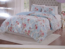 Shabby Chic Armoire Collection Cottage Floral Blue Quilted Bedspread 3pc... - $119.99
