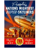 TWA Airlines Vintage (Howards Hughes) Super Skyliners Canvas Advertising... - $19.95