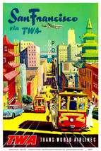 TWA Airways, Howard Hughes Vintage San Francisco 13 x10 inch Giclee Canv... - $19.95