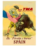 TWA Airlines Vintage Spain Bull Fighting Advert 13 x 10 inch Travel Canv... - $19.95