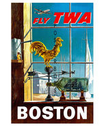 TWA Airlines 17 x 22 inch Vintage Boston Advertising Canvas Giclee Print - $59.00