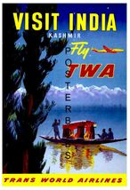 TWA Airlines Vintage Visit India 13 x 10 inch Travel Advertising Canvas ... - $19.95