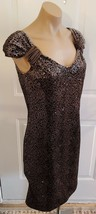 ARMANI COLLEZIONI Brown Velvet Dress Covered in Sequins - Size 10 - $85.99