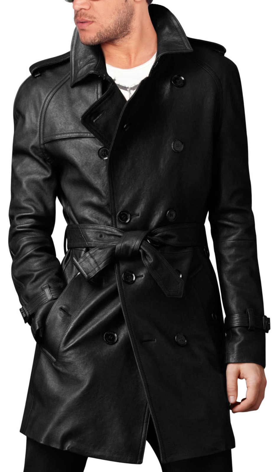 Handmade men leather trench coat Mens belted long leather ...