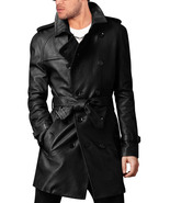 Handmade men leather trench coat Mens belted long leather coat Mens jackets - $224.99