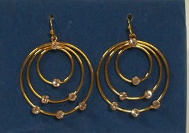 Multi-circle Hoop Earrings w/ Rhinestones - Gold tone  - $12.99