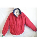 L Mens NAUTICA Hooded Windbreaker Jacket Bomber LIned Hooded Red White Blue USA