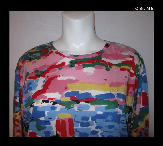 CAROLE LITTLE SPORT-Vintage Colorful Long Sleeve Tunic Top-Size Small to Medium