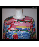CAROLE LITTLE SPORT-Vintage Colorful Long Sleeve Tunic Top-Size Small to... - $30.00