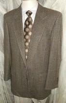 "D23 42 R Camel Hair Blass Blazer Sport Coat Jacket Mens 26"" Arms Browns Check - $115.92"