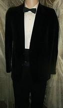 """D23 36 R Boys L Velvet Cotton Vintage Blazer Sport Coat Jacket Mens 25"""" Arms Blac - $115.92"""