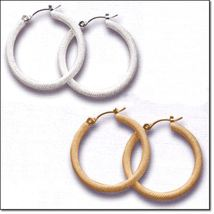 Timeless Texture Hoop Earrings (Gold tone) - Snap Closure, No Stone - $12.98