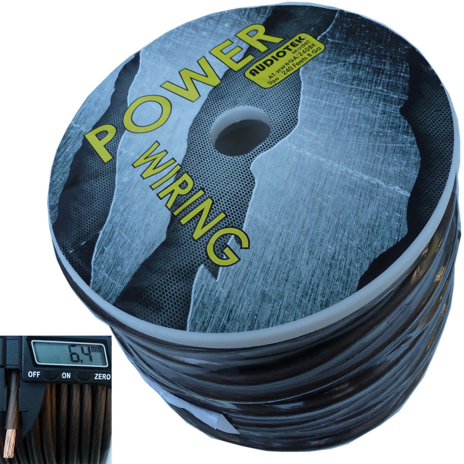 8 GAUGE SUPER FLEXIBLE WIRE 240 FT BLACK ROLL SPOOL FEET AWG ...