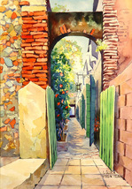 1960's Original Larry Gluck Hibiscus Alley Virgin Islands Lithographic a... - $386.03