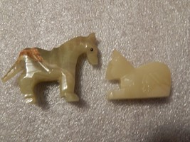 Vintage Pair of Onyx Stone Carved Horses - $40.00