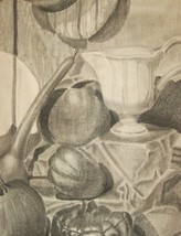 1961 Original Signed T. Nelson Still Life Charcoal Art - $133.65