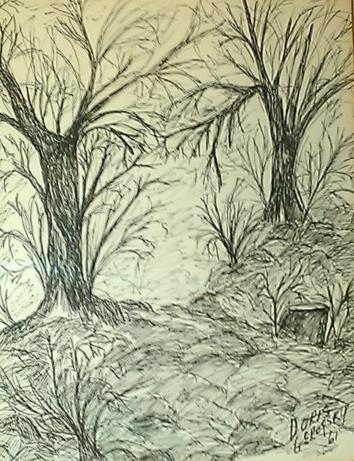Primary image for 1961 Rare, original, & signed Doris Gerofsky landscape sketch ink drawing