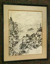 1961 Rare, original, & signed Doris Gerofsky landscape sketch pen & ink ... - $2,951.99